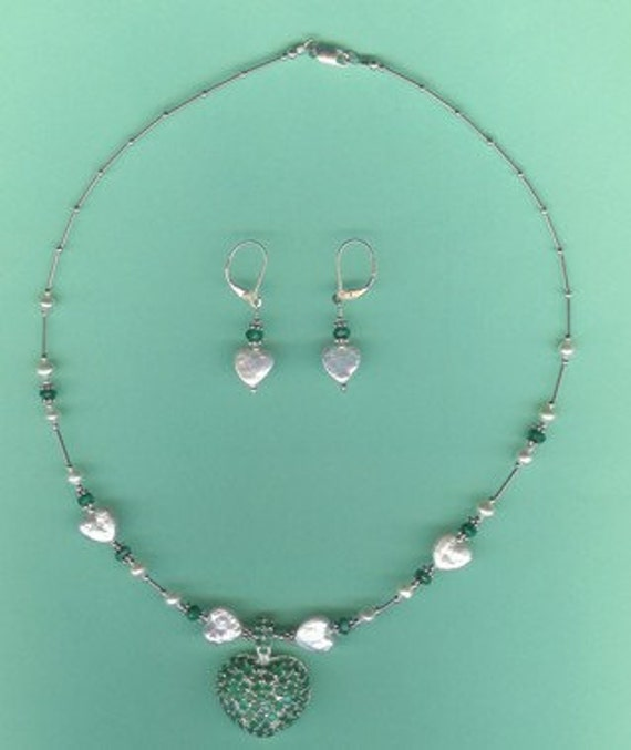Emerald Heart Pendant & Heart Coin Pearls Sterling Silver Drop Set
