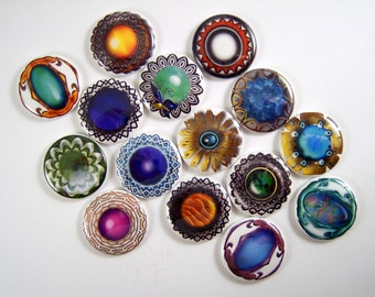 One Inch Jeweled Stones Flatback Buttons, Pins, Magnets 12 Ct.