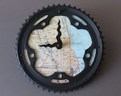 chicago bicycle clock / map bike clock / chicago illinois topographic map