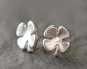 Small Four Leaf Stud Earrings in Sterling Silver