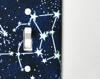 Light Switch Plate Cover - navy blue with white stars / constellations