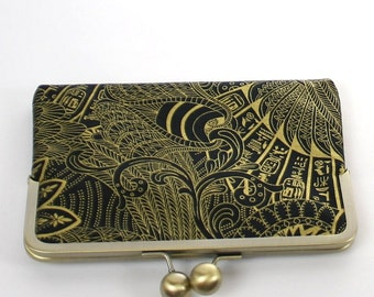 Black Gold Kindle Case/ Nook Case/ Kobo Case/ Sony Case/ Ereader Clutch Case Black Gold Pharoah's Wings