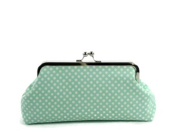 Clutch Purse, Bridesmaid Gift, Wedding Purse, Mint Green Polka Dots