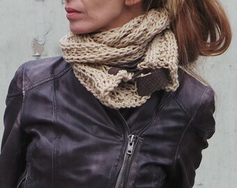 camel beige double wrap cowl / scarf with leather straps
