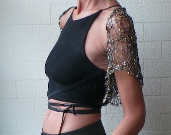 Shrug,  black gold loose knit evening  short sleeved shrug
