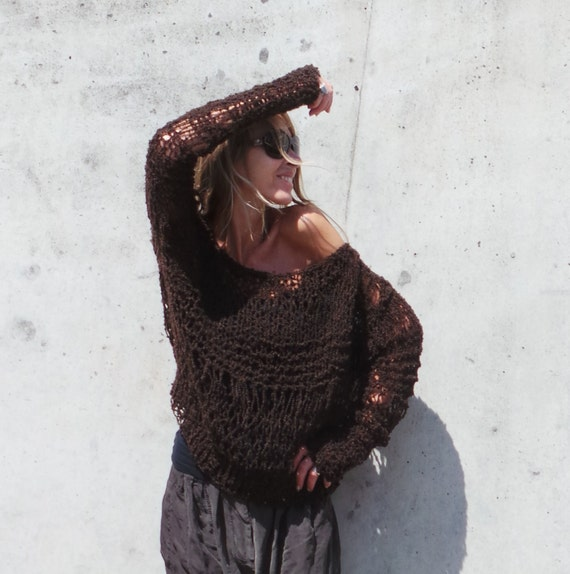brown sweater / dark chocolate brown lightweight oversized