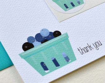 Blueberry Basket Farm-Fresh Personalized Stationery or Thank You Notecards with Stickers