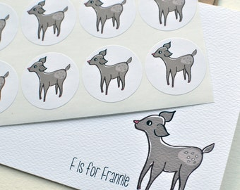 F is for ___ Fawn Thank You Notes or Personalized Stationery Set with Stickers