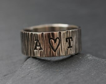 Personalized Tree Bark Ring; Men;s Wedding Ring in Sterling Silver