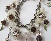Vintage Flower Bead Necklace Set Enchanted Garden