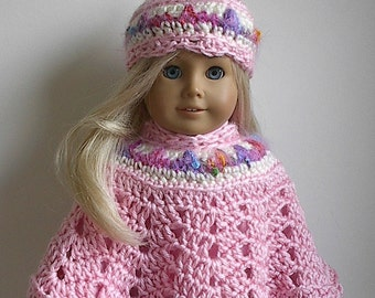 18 Inch Doll Crocheted Poncho and Hat in Light Pink with Cream and Jeweltone Multi made to fit the American Girl and other 18 Inch Dolls