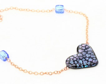 Heart Shaped Iridescent Dichroic Fused Glass Necklace Mixed Media Copper Chain and metallic murano glass Beads