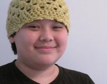 "chartreuse hat, openwork crocheted  gnome ""topkapi"""