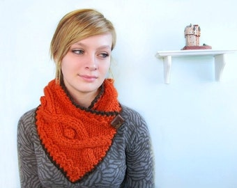 Orange Scarf. Chunky Handknit with Cables. Chocolate Brown Trim. Faux Wood Button. Tangerine