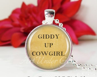 Round Medium Glass Bubble Pendant Necklace- Giddy Up Cowgirl