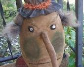 Primitive Halloween EXBulla witch head Make-do 157e Crows Roost Prims epattern SALE immediate download