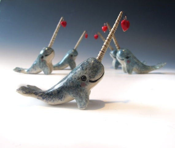 Red Heart - Narwhal Love - Valentine's Day - Hand sculpted ceramic figurine with Heart