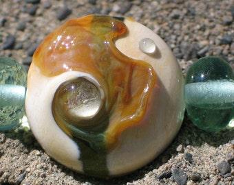 """Handmade Glass Lampwork Beads, """"Ivory/Light Green"""" straight sided lentil, focal, filler, art"""