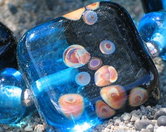 Handmade Glass Lampwork Beads, jewelry supplies, Aqua Blue/Black/Raku tile, square