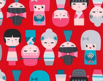 Kokeshi by Suzy Ultman, Kokeshi Dolls in sweet Red from Robert Kaufman, yard