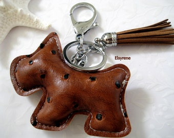 Bag charm-Whimsical  Leather Brown Scottie Dog Charm key chain/heart/gift,leather Tassel,Key,Charm purse/Bag, Modern Silver Strand-Puffy Dog