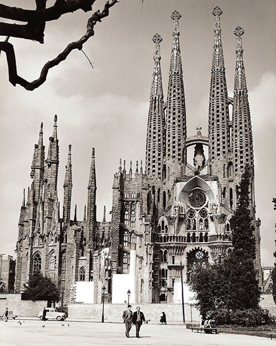 Sagrada Familia Barcelona- Vintage Photography Print