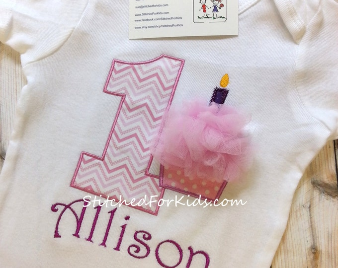 Cupcake Personalized Birthday Shirt, First Birthday,  Custom Birthday Shirt