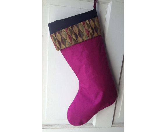 Handmade Large Christmas Stocking - Magenta Leaves - Heirloom Stocking for Woman