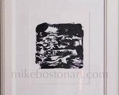 """MOON Monotype print framed in white frame 15"""" x 19"""""""