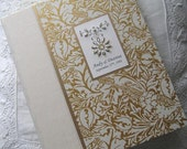 Personalized Wedding Photo Album in Ivory and Gold with Hand-stitched Beading 9x12