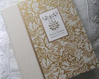 Personalized Wedding Photo Album, Ivory and Gold Album,  Hand-stitched Beading, 9x12, 8x10, Wedding Gift, Anniversary Album, Custom Album