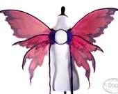 Bella No. 26 - Large Fairy Wings in Magenta, Purple and White