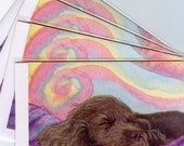 4 x Sussex spaniel dog greeting cards - serious snoozing