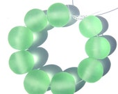 Handmade Lampwork Glass Round Beads etched green SRA s/9