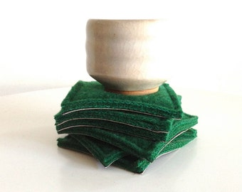 coaster set - EVERGREEN - wool and leather coasters