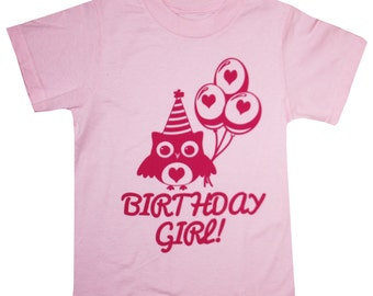 Kids I'm The BIRTHDAY GIRL Owl T-shirt