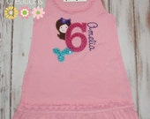 Personalized Mermaid Birthday Number Dress Girls boutique free name monogram short tank long sleeve custom embroidered sew cute creations