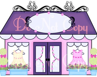 Buy 1 Get 1 FREE Kids Fashion Boutique Shop Store Front No.2 Girly Graphic Clip Art Fancy Chic Image Instant Download