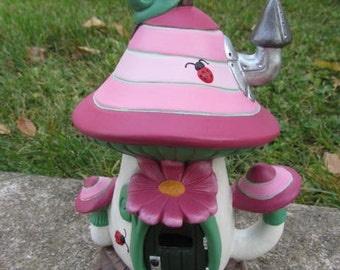 Handmade fairy house -  Mushroom - flowers - snail and ladybugs - Faerie house - Pink and green - Cool Gift Idea for girls - Fairy Garden
