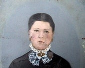 Antique Hand Painted Tintype, Victorian Woman Full Plate Portrait, Home Decor, American Folkart, Antique Painted Photograph