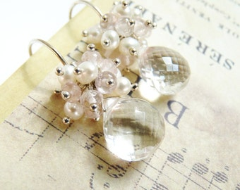 Crystal Quartz Earrings, Rose Quartz, Pearls, Sterling Silver Earrings, Handmade Earrings