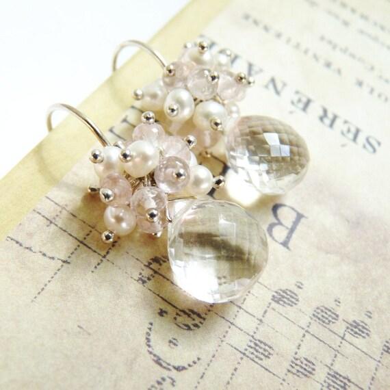 Crystal Quartz Earrings, Rose Quartz, Pearls, Sterling Silver Earrings, Handmade Earrings