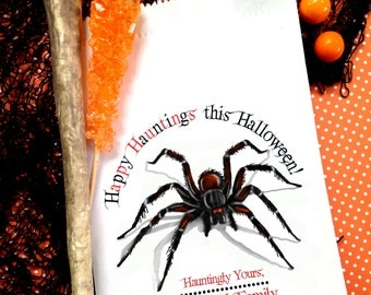 Halloween Favor Bags, Hairy Spider candy bags, Arachnophobia, spiders, Personalized candy bags, Favor bags,Sweets, Treat bags