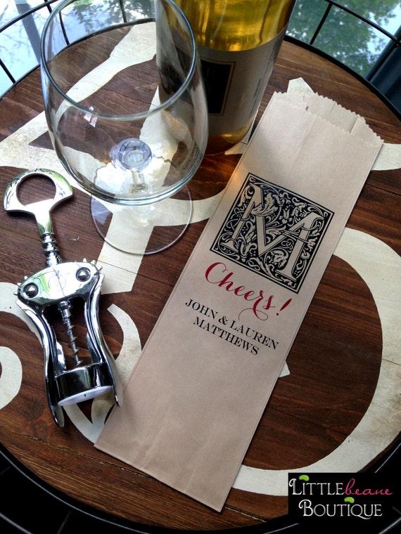 Wine Bags, Paper Wine Bags, Wine Gift bags, Printed Wine Bags, CUSTOM COLORS, set of 12