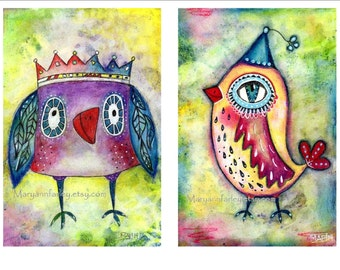 Two bird art prints in one! Owl and canary 5 x 7.5 prints in perfect complementary colors. Whimsical, child's room, red, yellow, teal.