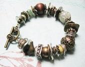 BOHO Little Birdy beaded bracelet silver gold metal glass charm discs jade wood ephemera found objects bohemian boho