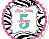 Personalized Birthday Stickers - Zebra Birthday - Personalized Sticker, Birthday Label, Party Sticker -- Choice of size