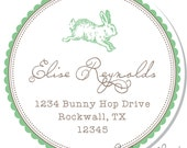 Personalized Stickers -- Bunny -- Personalized Labels, Personalized Party Labels, Party Favor Stickers -- Choice of Size