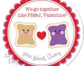 Personalized Valentine Stickers - Peanut Butter & Jelly - Valentine Stickers, Personalized Labels, Valentine Labels, Valentine Party