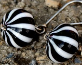 Black and White candy striped blown Murano glass earrings